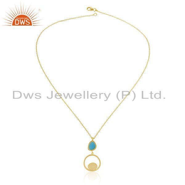 Exporter Handmade Brushed Finish Gold Plated Sterling Silver Chain Pendant