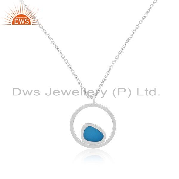 Exporter New Look Blue Enamel Design 925 Sterling Fine Silver Chain Pendant