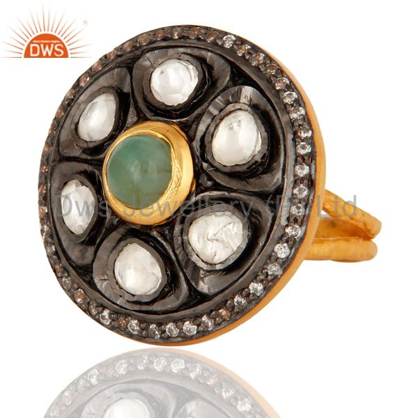 Exporter Crystal Polki Gold Plated Sterling Silver Emerald Antique Style Cocktail Ring