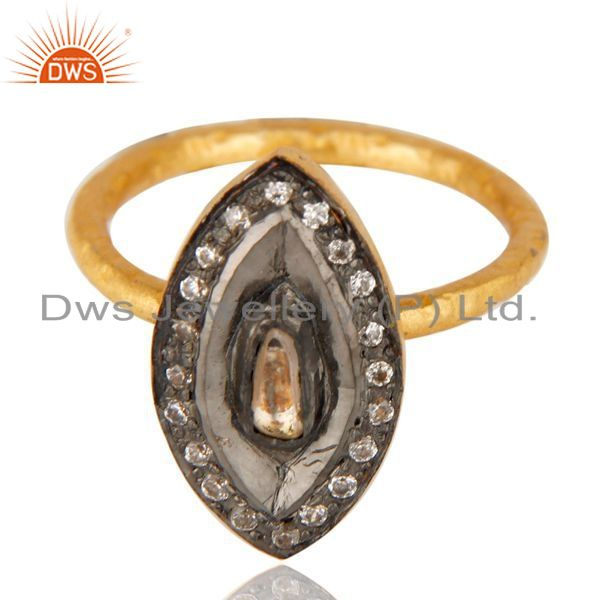 Exporter Crystal Quartz CZ Handmade Hammered Fashion Ring In 14K Gold Over Sterling Silve