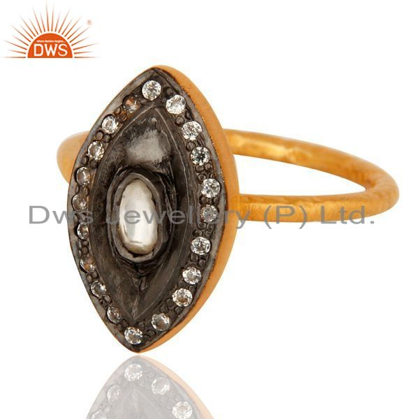 Exporter 14-karat Yellow Gold Plated Sterling Silver CZ Fashion Statement Ring