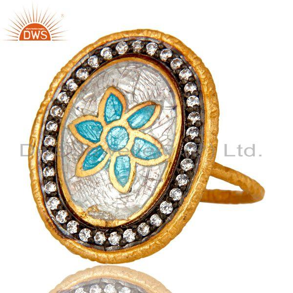 Exporter 18K Yellow Gold Plated Sterling Silver Enamel Paint Fashion Cocktail Stack Ring