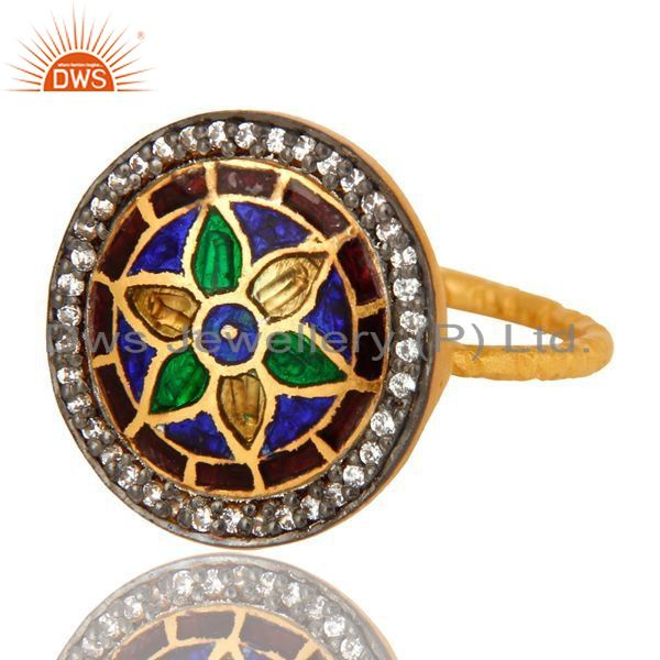 Exporter 18K Yellow Gold Plated Sterling Silver CZ And Enamel Flower Design Cocktail Ring