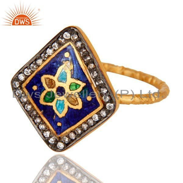 Exporter 18K Gold Plated Sterling Silver White Zircon and Enamel Ring
