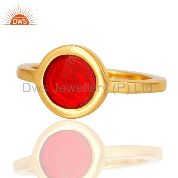 Exporter 14K Yellow Gold Plated Sterling Silver Red Enamel Fashion Satcking Ring