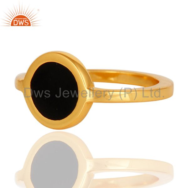 Exporter 14K Yellow Gold Plated Sterling Silver Black Enamel Stacking Ring