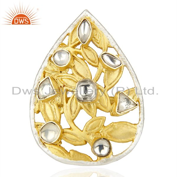 Exporter Crystal Quartz Stackable 14K Yellow Gold Plated Brass Ring Fashion Jewelry