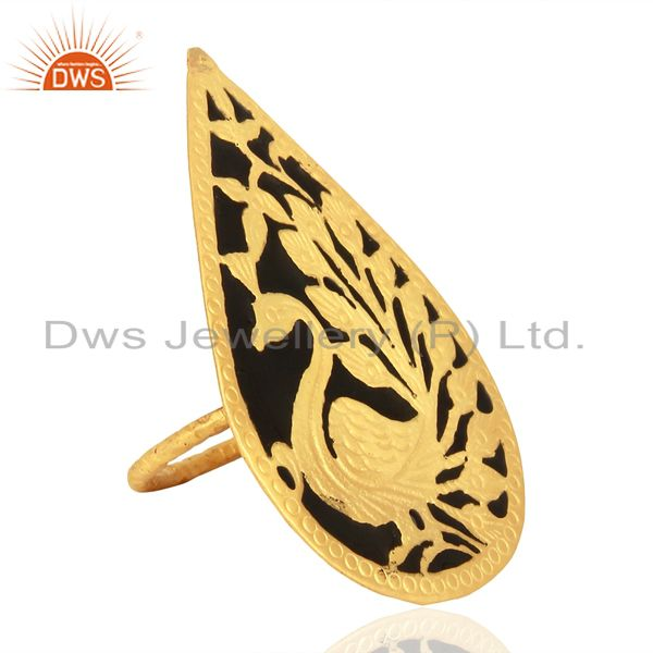 Exporter Gold Plated Brass Fashion Designer Enamel Ring Jewelry Supplier
