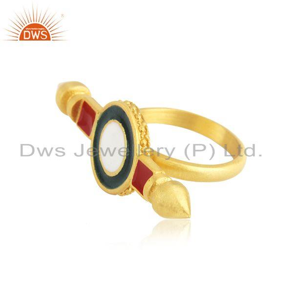 Exporter Yellow Gold Plated 925 Silver Plain Enamel Ring Jewelry Supplier