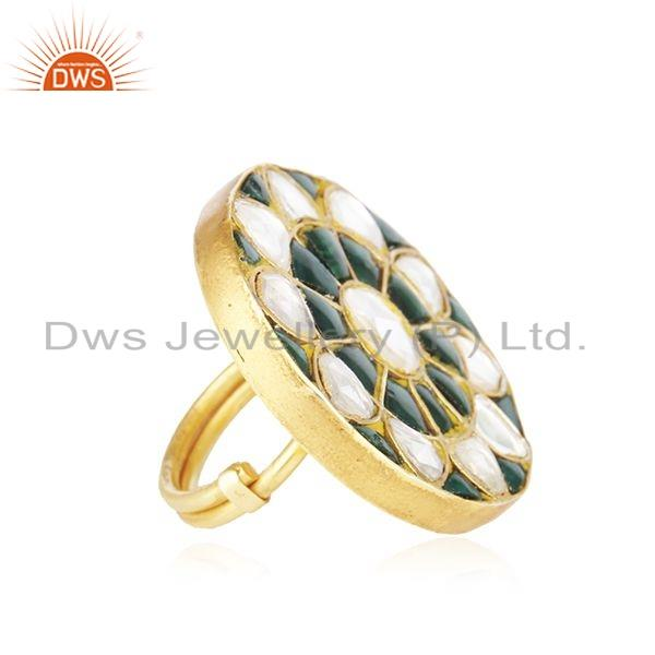Exporter Tradirional Gold Plated Handmade 925 Silver Lakh Ring Jewelry