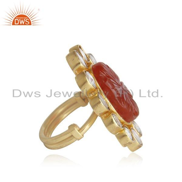 Exporter Hand Craving Natural Red Onyx Gemstone Gold Plated Silver Ring Jewelry