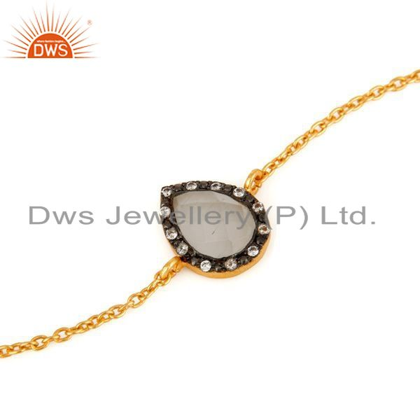 Exporter Moonstone & CZ 18ct Gold Plated on Sterling Silver Chain Friendship Bracelet
