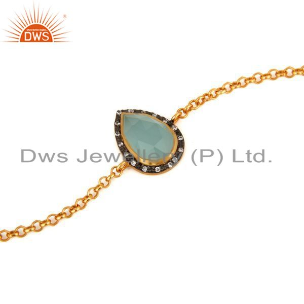Suppliers 18K Yellow Gold Plated Sterling Silver Aqua Glass Gemstone Bracelet With CZ