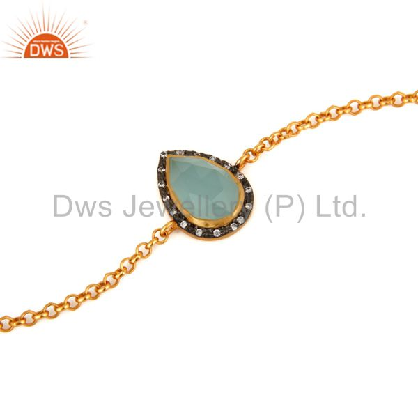 Exporter 18K Yellow Gold Plated Sterling Silver Aqua Glass Gemstone Bracelet With CZ