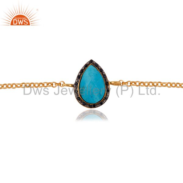 Exporter Gold Plated Sterling Silver Blue Sapphire & Turquoise Gemstone Chain Bracelets