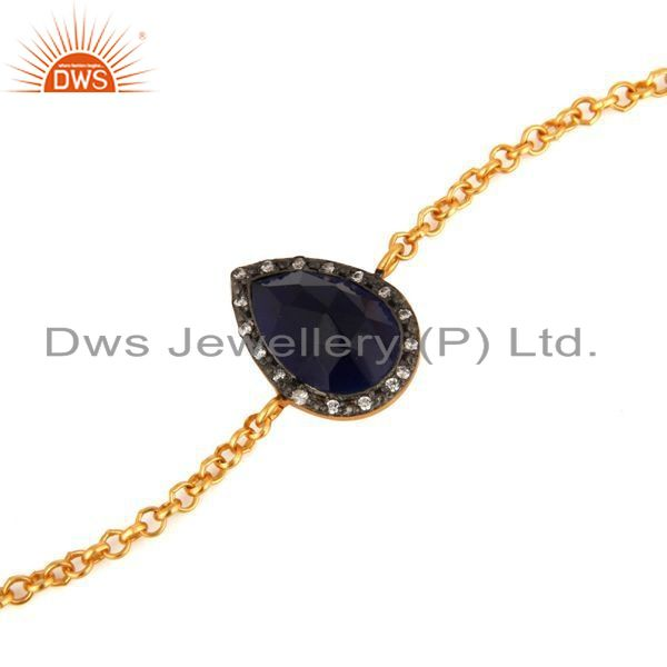 Exporter 18K Gold Plated 925 Sterling Silver Lab Created Blue Sapphire Gemstone Bracelet