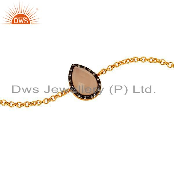 Exporter 18K Yellow Gold Plated Sterling Silver Rose Chalcedony Chain Bracelet With CZ