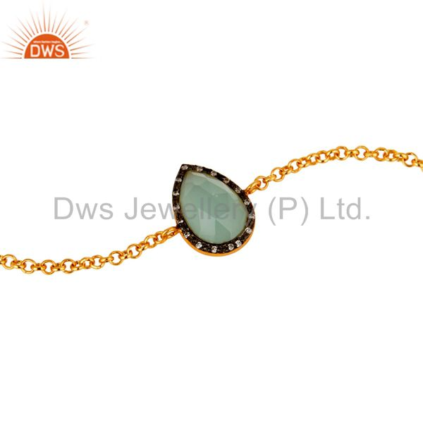 Exporter 18K Yellow Gold Plated Sterling Silver Aqua Chalcedony Chain Bracelet With CZ