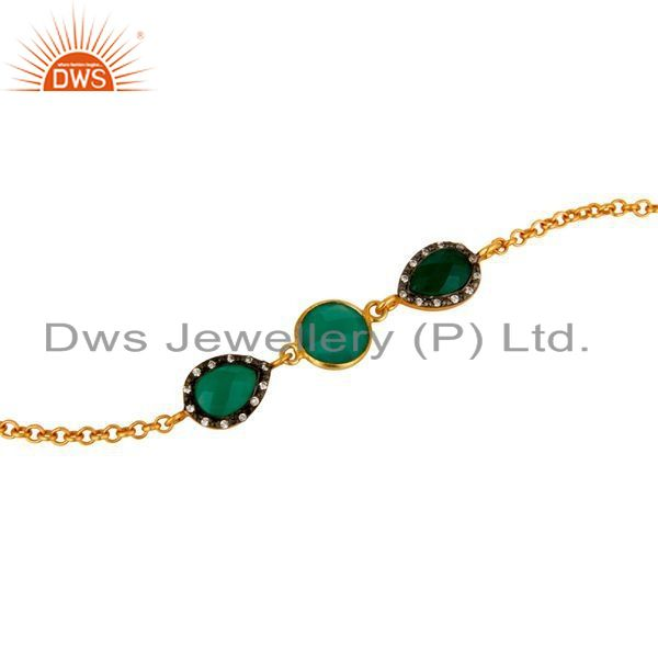 Exporter 18K Yellow Gold Plated Sterling Silver Green Onyx Chain Bracelet With CZ