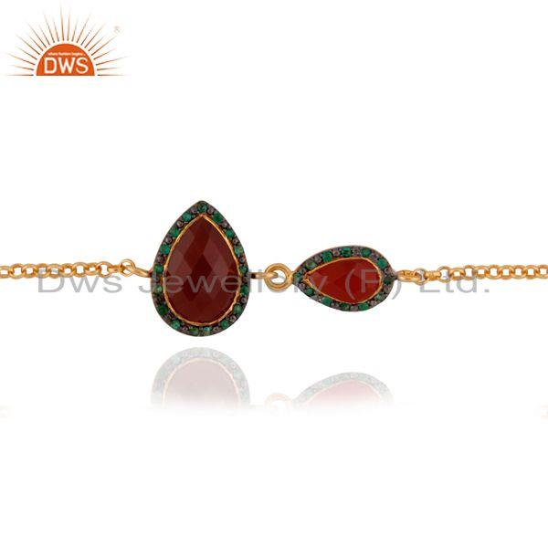 Exporter Gold Plated 925 Sterling Silver Chain Natural Emerald Gemstone Red Onyx Bracelet