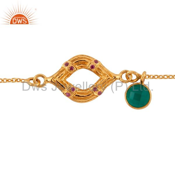 Exporter 18K Gold Plated Sterling Silver Ruby & Green Onyx Charm Chain Bracelet