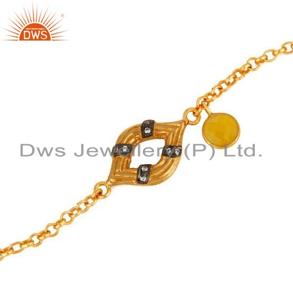 Exporter Sterling Silver With Gold Plated Chain Link Style Bracelet With Moonstone & CZ