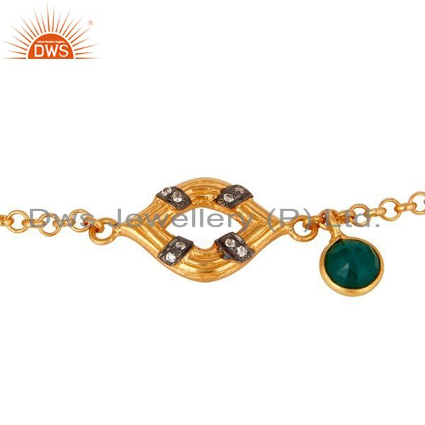 Exporter 22K Gold Plated Sterling Silver Green Onyx & White Zirconia Chain Link Bracelet