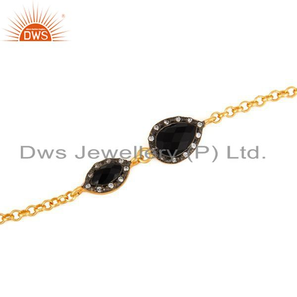 Exporter 925 Sterling Silver With 18K Yellow Gold Plated Balck Onyx & CZ Womens Bracelet