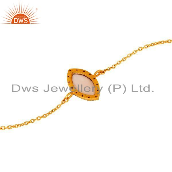 Exporter Rose Chalcedony Gold Plated Sterling Silver Chain Bracelet With CZ