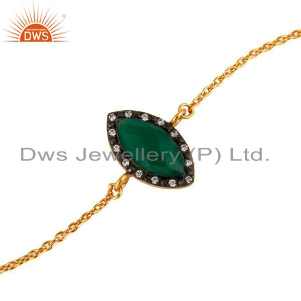 Exporter 22K Yellow Gold Plated 925 Sterling Silver Green Onyx & CZ Fashion Bracelet