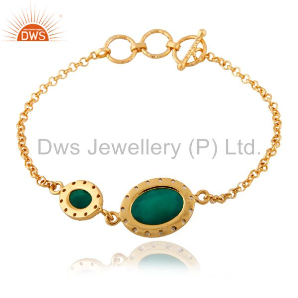 Exporter Green Onyx  925 Sterling Silver White Topaz 18K Yellow Gold Plated Chain Bracele