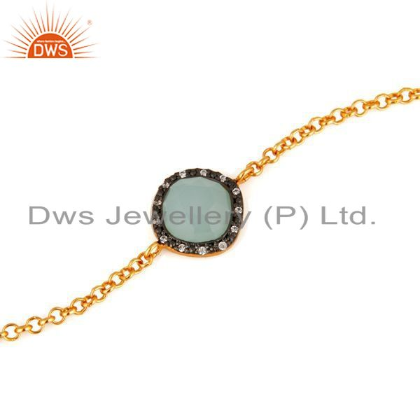 Suppliers Synthetic Aqua Chalcedony Gemstone Gold Plated Sterling Silver Chain Bracelets