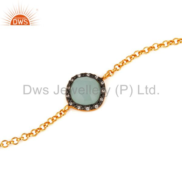 Exporter Synthetic Aqua Chalcedony Gemstone Gold Plated Sterling Silver Chain Bracelets