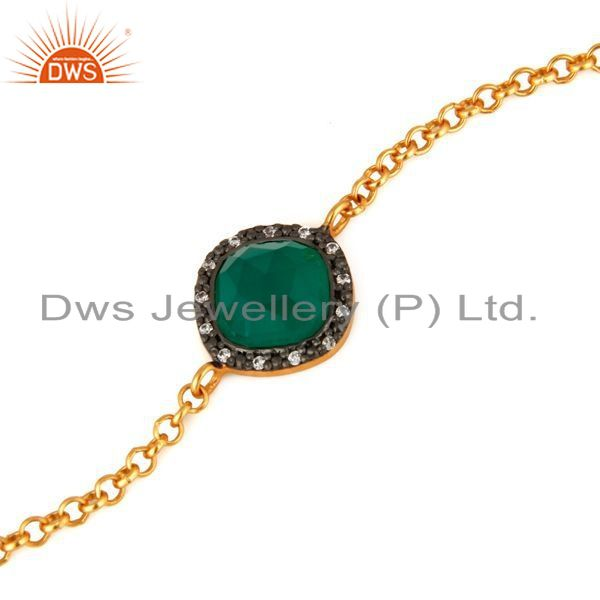Exporter 18K Gold Plated 925 Sterling Silver Green Onyx Gemstone Bracelet With CZ