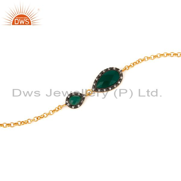 Exporter Faceted Green Onyx Gemstone & CZ Gold Plated Sterling Silver Beautiful Bracelet