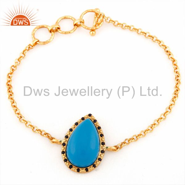Exporter 925 Sterling Silver Blue Sapphire & Turquoise Bracelets With Gold Plated