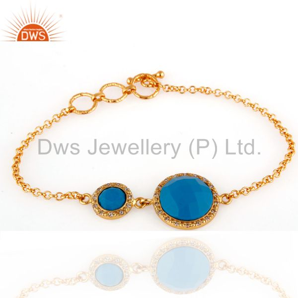 Exporter 18K Yellow Gold Plated Sterling Silver Turquoise Gemstone Bracelets