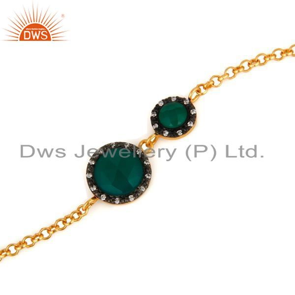 Exporter CZ & Green Onyx Gemstone Cable Link Sterling Silver Gold Plated Chain Bracelet