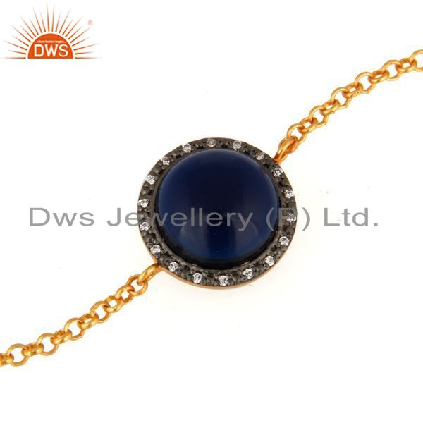 Exporter 18K Gold Plated Sterling Silver Blue Corundum and White Zircon Accent Bracelet