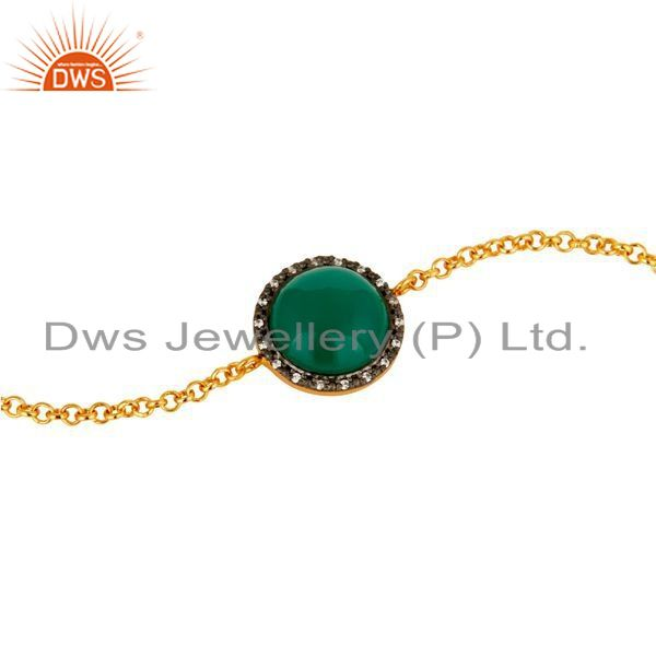 Exporter 18K Gold Plated Sterling Silver Green Onyx Womens Chain Bracelet