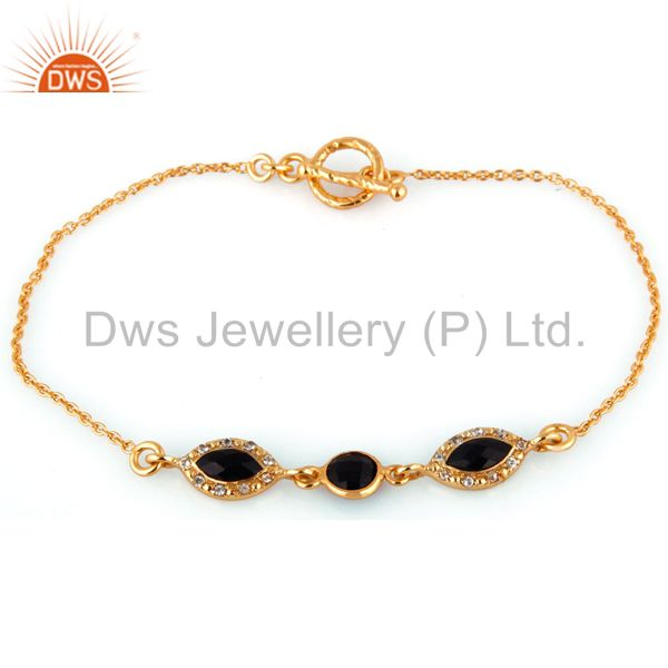 Exporter Faceted Black Onyx Sterling Silver Bracelet With White Topaz - Gold Plated