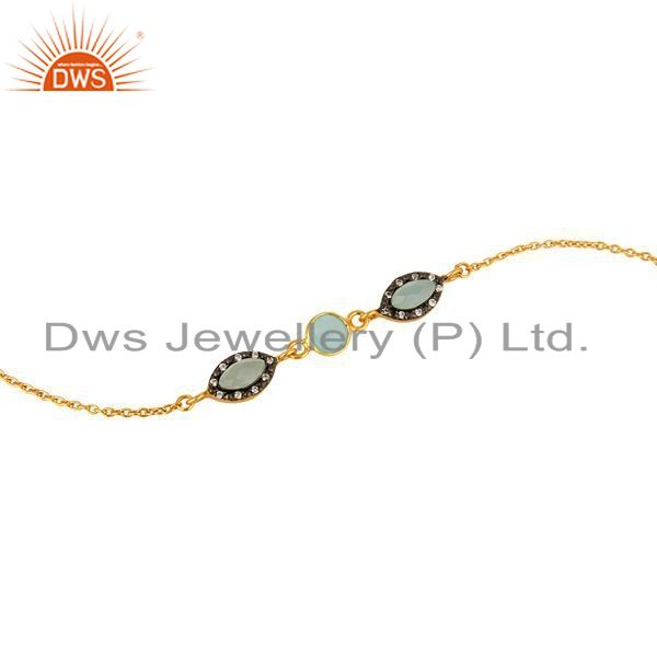 Exporter 18K Yellow Gold Plated Sterling Silver Aqua Blue Chalcedony Link Chain Bracelet