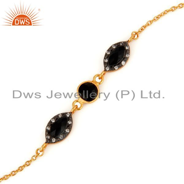 Exporter 18ct Gold Plated Plated Over Sterling Silver Black Onyx Chain Bracelet With CZ