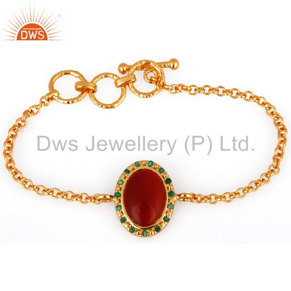 Exporter Red Onyx/Emerald Gemstone 925 Sterling Silver 18K Gold Plated Chain Bracelet