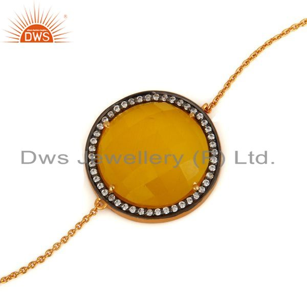 Exporter Yellow Moonstone & White Zircon Sterling Silver With Gold Plated Chain Bracelet