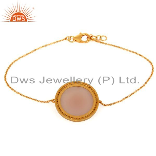 Exporter Rose Chalcedony & White Zircon Sterling Silver With Gold Plating
