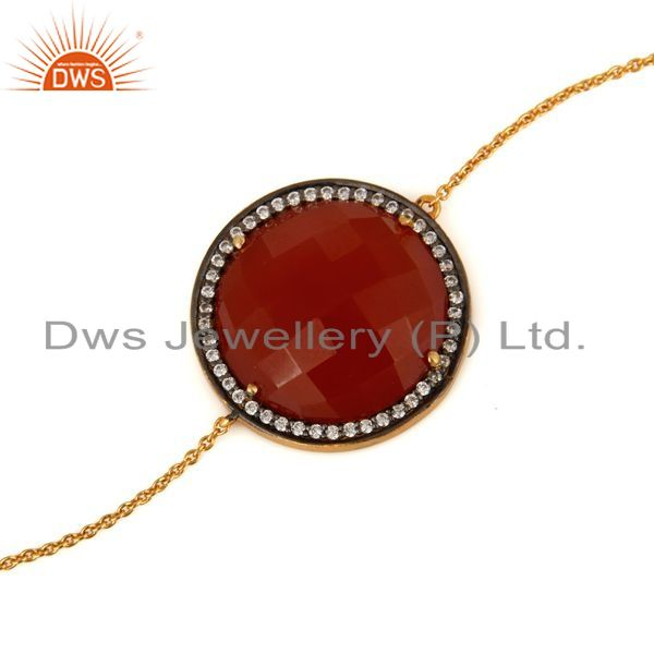 Exporter Red Onyx Gemstone Bracelet With CZ Made In 18K Gold Over Sterling Silver Jewelry