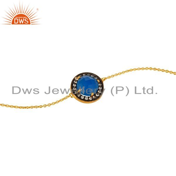 Exporter 18K Yellow Gold Plated Sterling Silver Chalcedony And CZ Chain Bacelet