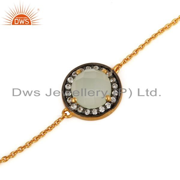 Exporter Blue Chalcedony Gemstone 18K Gold Plated Sterling Silver Chain Bracelet With CZ
