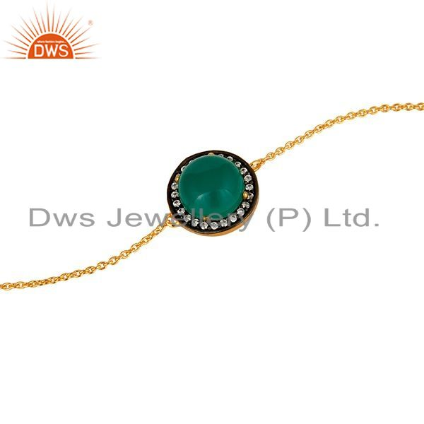 Exporter 18K Gold Plated Sterling Silver Green Onyx And White Zircon Adjustable Bracelet